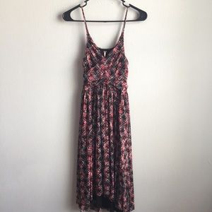 Free People nylon mesh cross front dress S pink.